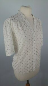 Jaeger-Size-10-Vintage-White-Spotty-Textured-Fitted-Blouse-Shirt-Top-Summer-Hol