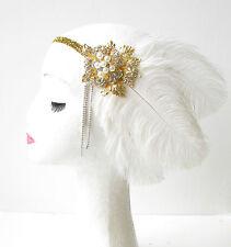 Weiß Gold Silber Feder Kopfteil 1920er Jahre Flapper-stirnband Strauß Vintage