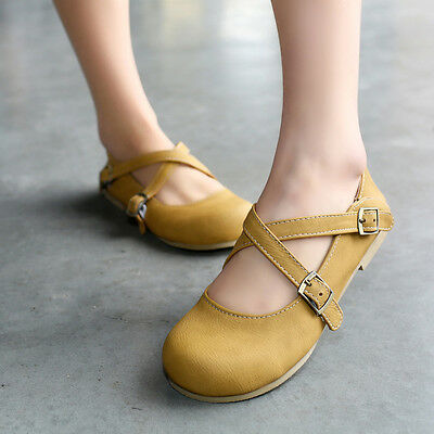 Classic Cute Lolita Round Toe Cross Strap Flat Womens Girls Ballet Retro Shoes