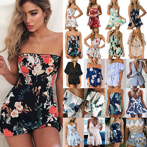 b1aba2a5979 Image is loading Womens-Holiday-Mini-Playsuit-Jumpsuits-Rompers -Summer-Beach-