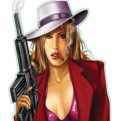 """LETHAL THREAT DECALS """"GANGSTER BABE"""" with MACHINE GUN"""