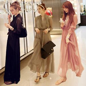 Korean-Women-Chiffon-Pleated-Casual-Summer-Beach-Boho-Party-Sun-Maxi-Long-Dress