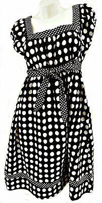 GEORGE BLACK /& WHITE POLKA DOT SHORT SLEEVE COTTON DRESS UK 10 LD230