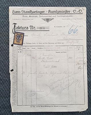 c22 FleißIg Alte Rechnung 1923 Aus Aurolzmünster Getreide Futterartikel Standharting