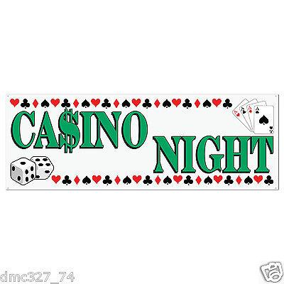 "CASINO Vegas Poker Game Party Decoration CASINO NIGHT Sign BANNER 60"" x 21"""
