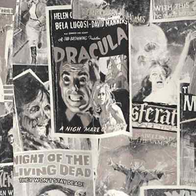 Horror Movie Poster Collage Zombie Halloween Cotton Linen Look Fabric