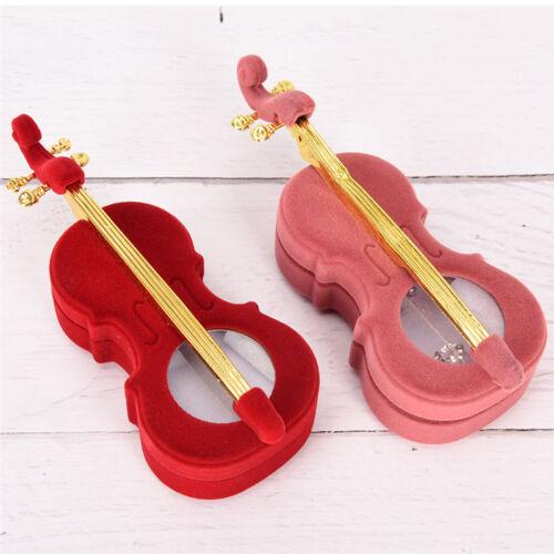 Velvet Violin Ring Box Necklace Jewelry Display Storage Case Jewelry H~JP