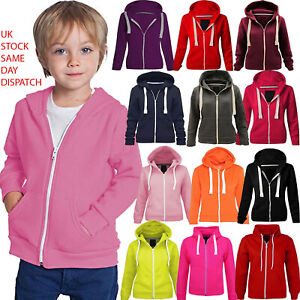 Kids Girls Unisex Plain Fleece Black Hoodie Zip Up Style Zipper Age 2-13 Years