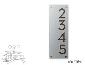 Plaque Sign Vertical 3 Modern House Numbers Alucobond with Black Acrylic