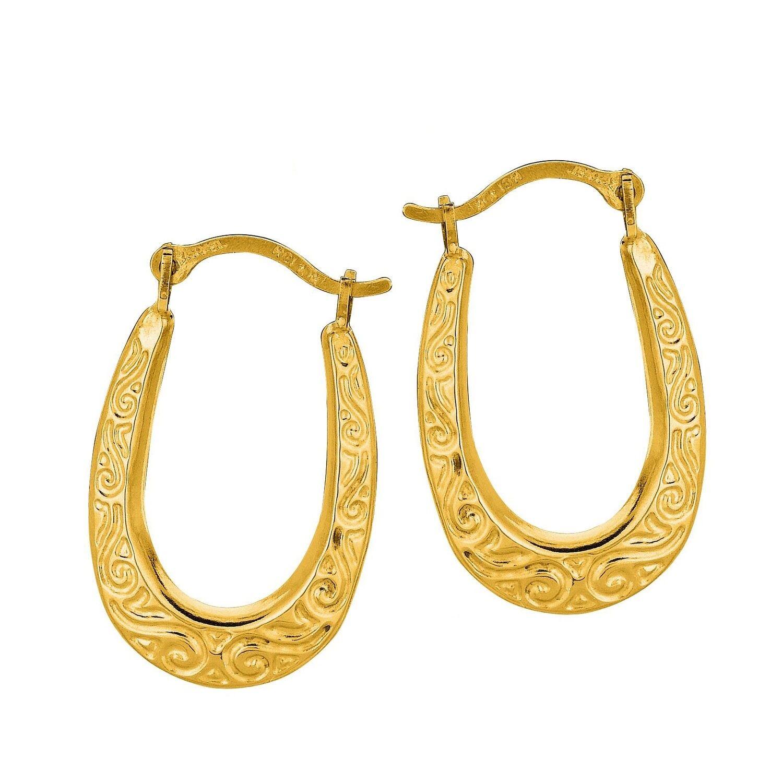 10K Yellow gold Textured Oval Hoops Hoop Earrings 20mm