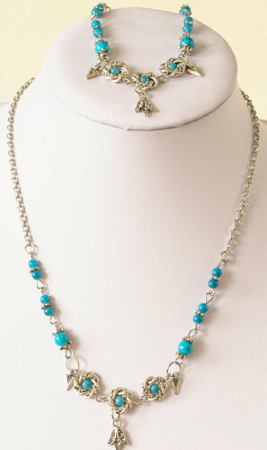 Necklace//bracelet set in acrylic turquoise beads silver plated spacers /& chain