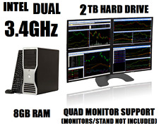 DELL 4-MONITOR TRADING COMPUTER w/PENTIUM DUAL 3.4GHz✓8GB✓2TB HD✓WIN 10 DESKTOP