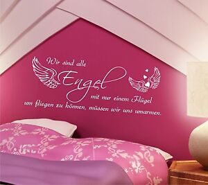 wandtattoo spr che wir sind alle engel 100cm schlafzimmer. Black Bedroom Furniture Sets. Home Design Ideas