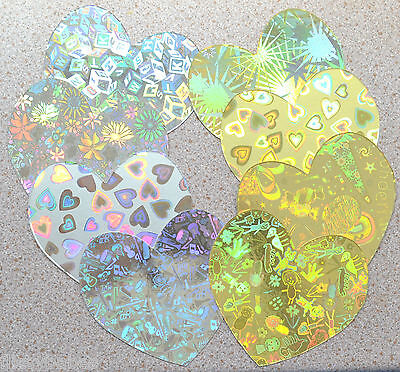 """20 Large Heart Cutouts 4/"""" x 4/"""" Holographic Patterne Gold and//or Silver Card NEW"""