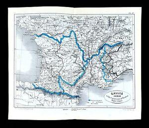 1877 Vuillemin Map Ancient Gallia South France Roman Gaule