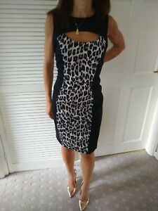 French-Connection-Leopard-Print-Wiggle-Dress-Black-And-Grey-Size-12-RRP-110