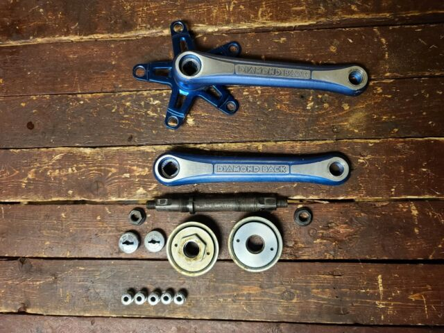1980 Diamond Back Sugino Maxy Cross Cranks Set 170MM Blue Three Piece 3P OS BMX