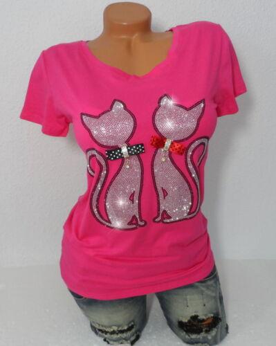 Damen Shirt Top T-Shirt mit Glitzer Katzen Motiv Kurzarm Rundhals  XS S  34 36