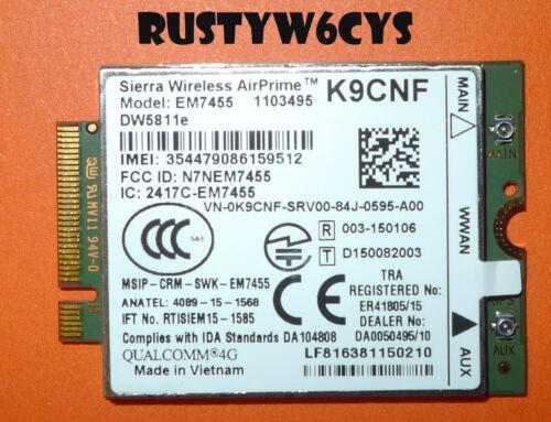 Dell Precision 3510 7510 7710 4G LTE WWAN NGFF Module Card EM7455 REV-A00 K9CNF