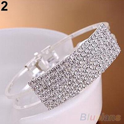 Women Striking Bangle Wristband Bracelet Crystal Cuff Bling Jewelry Nice Gift
