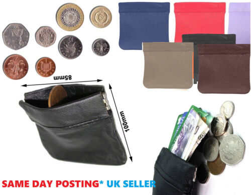 NEW MENS LADIES BLACK REAL LEATHER COIN POUCH WALLET PURSE BAG BOX Unisex sprgCn