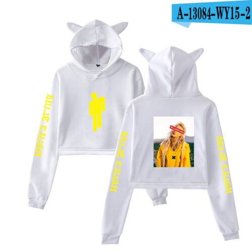 Billie Eilish Inspired Hoodied T Shirt Ocean Eyes Fans Crop Tops Sweatshirt New