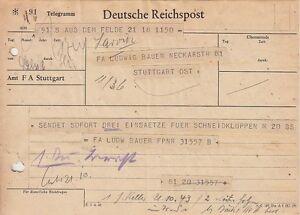 Norwegen-Feldpost-Todt-Telegramm-1943-Front-Heimat-3157-Bauleitung-Larvik