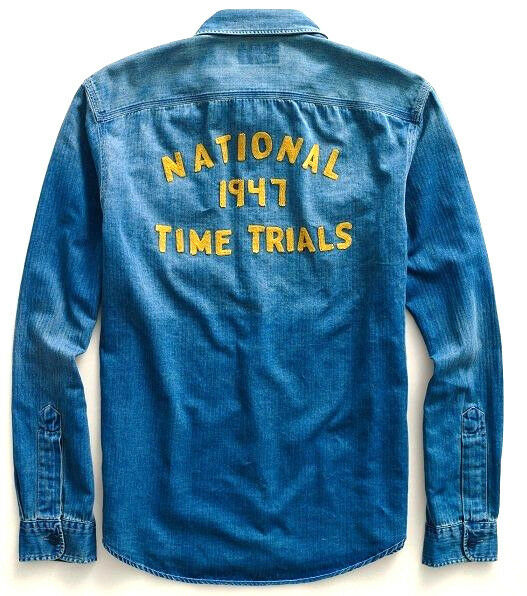 POLO RALPH LAUREN RRL INDIGO blueE  1947 TIME TRIALS  EMBROIDERED UTAH SHIRT