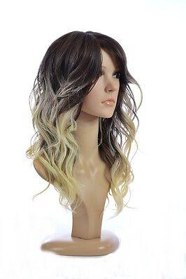 Jen | Ombre Two Tone Brown/Blonde Dip Dyed Human Hair Blend Fashion Wig