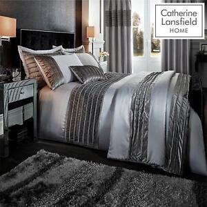 Catherine Lansfield Corded/Crushed Velvet Bands Duvet Cover bedroom Range Silver