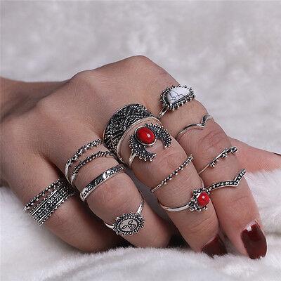 14pcs/set Silver Punk Gems Band Ring Women Retro Finger Rings Boho Style
