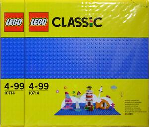 LEGO-Classic-Creator-2-x-10714-Bauplatte-blau-Grund-Platte-25x25-cm-32-Nopp-NEU