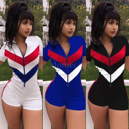 Women Clubwear Short Sleeve Playsuit Zipper Bodycon Party Jumpsuit Romper N3D6