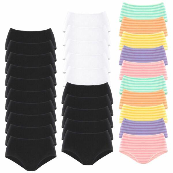 Damen Slips Taillenslip von Go in | 10 Stück | Unterhose Baumwolle Schlüpfer