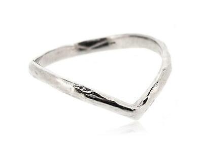 925 Sterling Silver Rhodium Plated V Chevron Thumb Ring