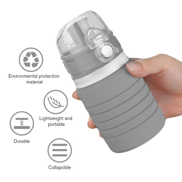 500ML Silicone Foldable Water Bottle Gym Camping Travel Drinking Collapsible Cup