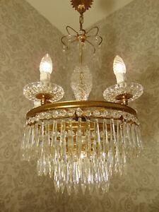 antik   6 Fl  Kronleuchter   Lüster Deckenlampe  Messing Gold Kristall ca.1920