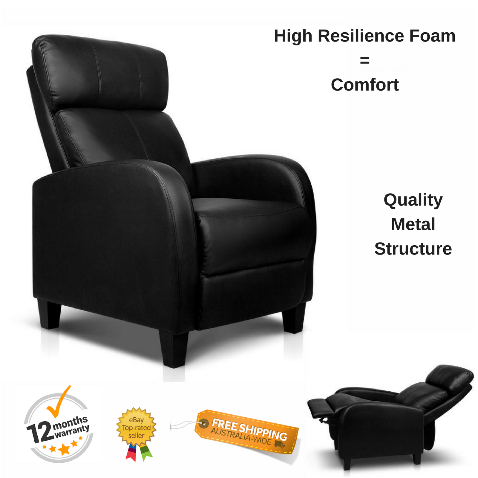 Black Recliner Armchair Faux Leather Sofa Chair Leg Rest Chaise  ~ Black Leather Sofa Chair