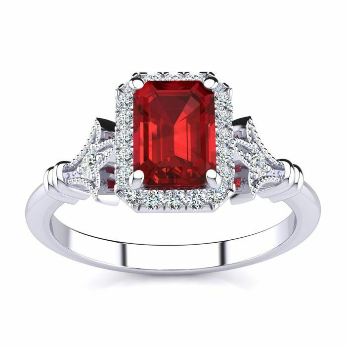 14K White gold 1 1 4Ct Emerald Cut Ruby and Halo Diamond Vintage Ring, SIZE-9