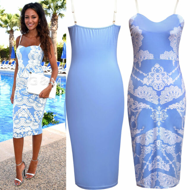 New Summer Womens Celeb Inspire Floral Tropical Print Ladies Bodycon Midi Dress