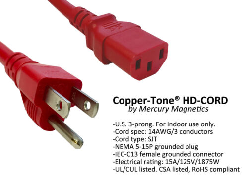 Mercury Mag Audiophile Guitar AC Cable 10ft Heavy Duty Copper-Tone® Power Cord