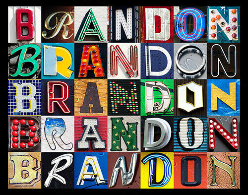 BRANDON Name Poster featuring photos of actual sign letters