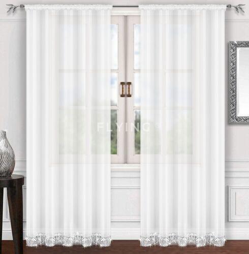 LB-224 Fertiggardine aus Voile Weiß Fenstergardine mit Kräuselband Gardine Schön