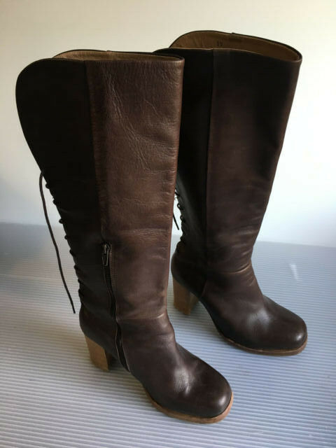 Cubanas Highfield Boots Brown Leather Side Zip Rear lace up Size 8