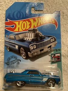 Hot Wheels Tooned Series 1964 Chevy Impala Blue 9 of 10 Cars 1/64 FREE SHIPPING