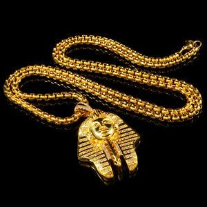 18k gold king tut pharaoh mini simulated diamond pendant hip hop image is loading 18k gold king tut pharaoh mini simulated diamond aloadofball Gallery