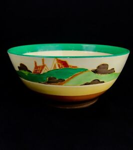 Clarice-Cliff-Art-Deco-Secrets-Bowl-Vase-Bizarre-Newport-Green-Brown-House