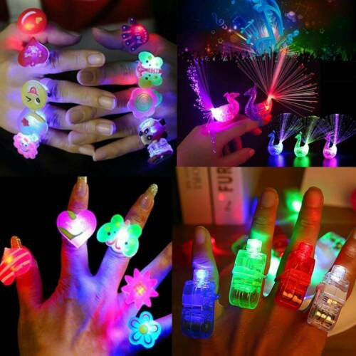 10 Pcs Glow in the Dark Party Supplies LED Light Up Finger Rings Concerts Toy