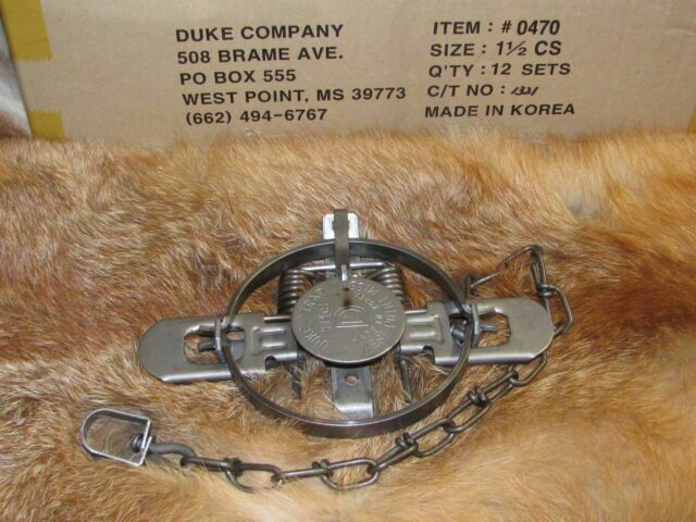 2 New Duke Traps # 1 1//2 Coil Spring Traps Raccoon Fox Mink Nutria Trapping 0470