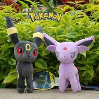 """2Pcs Pokemon Plush Toy Espeon & Umbreon 6"""" Game Cuddly Stuffed Animal Doll"""